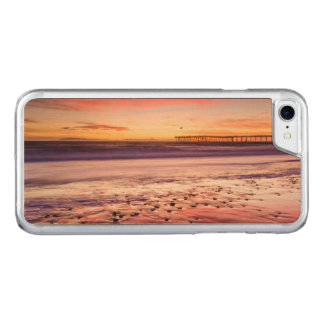 Seascape and pier at sunset, CA Carved iPhone 7 Case
