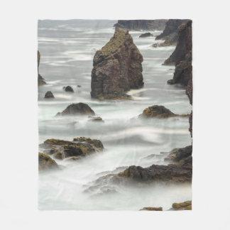 Seascape and sea stacks, Shetland Fleece Blanket