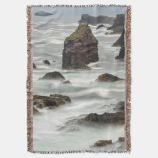 Seascape and sea stacks, Shetland Throw Blanket