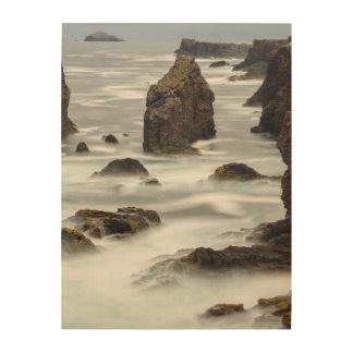 Seascape and sea stacks, Shetland Wood Print