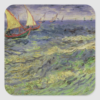 Seascape at Saintes-Maries  1888 Square Stickers
