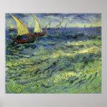 Seascape at Saintes Maries by Vincent van Gogh Poster