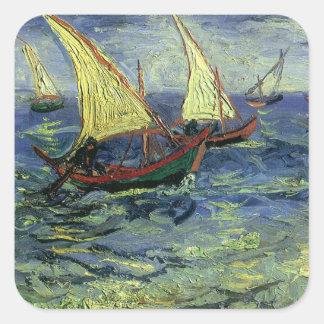 Seascape at Saintes Maries by Vincent van Gogh Square Sticker