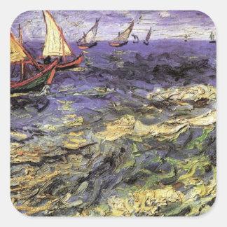 Seascape at Saintes-Maries by Vincent van Gogh Square Sticker