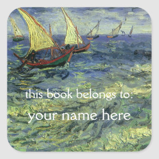 Seascape at Saintes-Maries; Van Gogh Bookplate Square Sticker