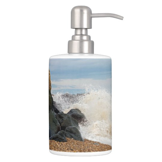 seascape bathroom accessories soap dispenser and toothbrush