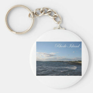 Seascape in Rhode Island Basic Round Button Key Ring