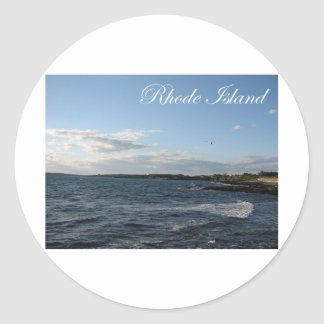 Seascape in Rhode Island Round Stickers
