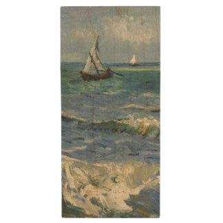 Seascape Les Saintes-Maries-de-la-Mer by Van Gogh Wood USB 2.0 Flash Drive