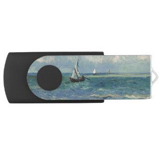 Seascape Les Saintes-Maries-de-la-Mer by Van Gogh Swivel USB 2.0 Flash Drive