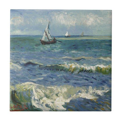 Seascape Les Saintes-Maries-de-la-Mer by Van Gogh Ceramic Tile