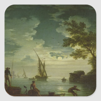 Seascape, Moonlight, 1772 Square Stickers