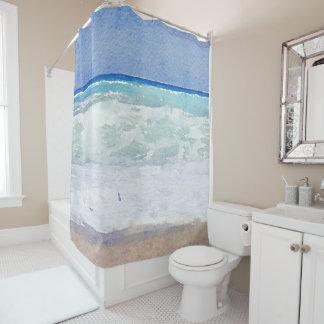 Seascape Nautical Beach Watercolor Shower Curtain