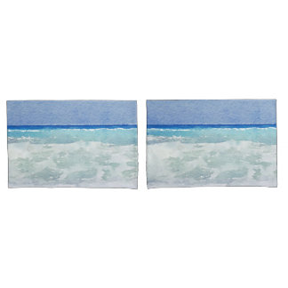 Seascape Ocean Waves Watercolor Pillowcase