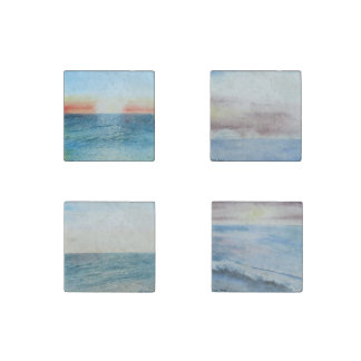 Seascape painting coasters stone magnet