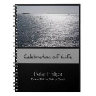 Seascape Personalized Memorial Guest Book Spiral Notebooks