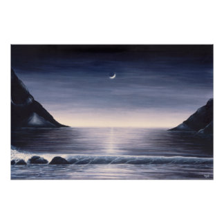 Seascape poster by Mike Colt black and white