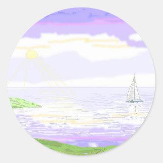 Seascape scene classic round sticker