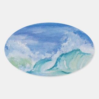 Seascape Oval Sticker
