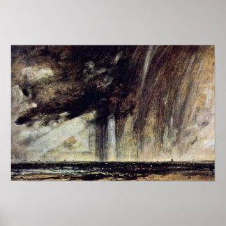 Seascape Study With Rain Cloud Seascape With Rain Poster