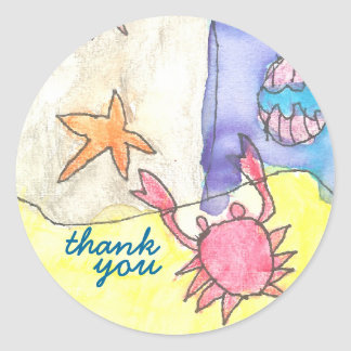 Seascape thank you sticker
