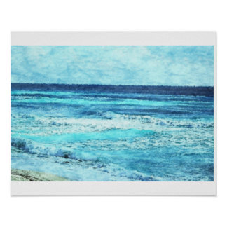 Seascape Watercolor Photo Poster