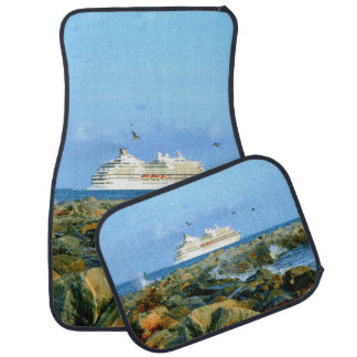 Seascape with Cruise Ship Car Mat