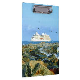 Seascape with Cruise Ship Clipboard