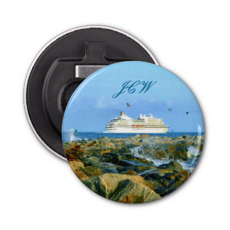 Seascape with Cruise Ship Monogrammed