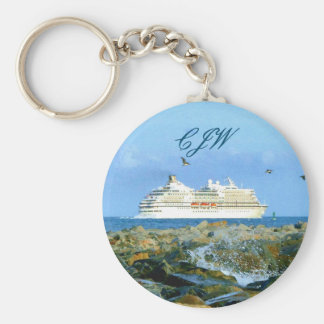 Seascape with Cruise Ship Monogrammed Basic Round Button Key Ring