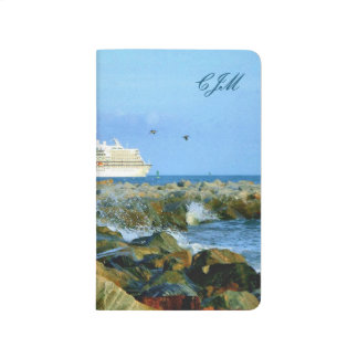 Seascape with Cruise Ship Monogrammed Journal
