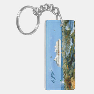 Seascape with Cruise Ship Monogrammed Key Ring