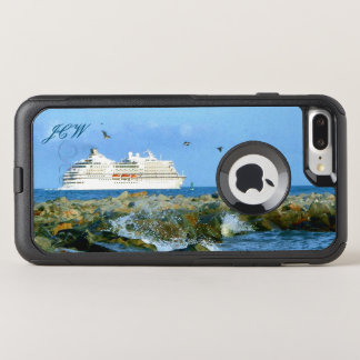 Seascape with Cruise Ship Monogrammed OtterBox Commuter iPhone 7 Plus Case