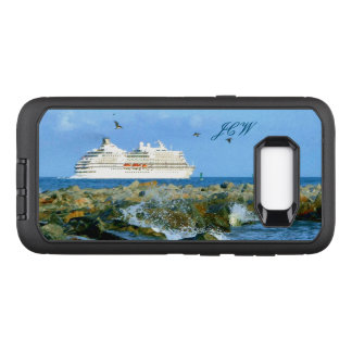 Seascape with Cruise Ship Monogrammed OtterBox Defender Samsung Galaxy S8+ Case
