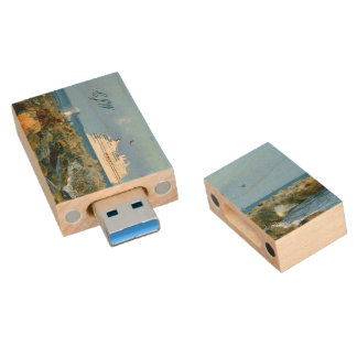 Seascape with Cruise Ship Monogrammed Wood USB Flash Drive