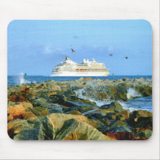 Seascape with Cruise Ship Mouse Pad