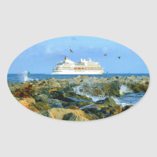 Seascape with Cruise Ship Oval Sticker