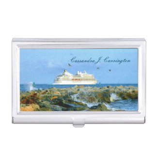 Seascape with Cruise Ship Personalized Business Card Holders