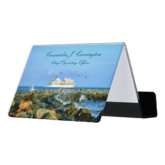 Seascape with Cruise Ship Personalized Desk Business Card Holder