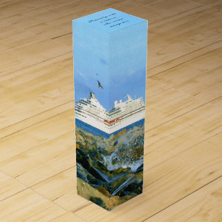 Seascape with Cruise Ship Personalized Wine Gift Box