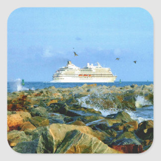 Seascape with Cruise Ship Square Sticker