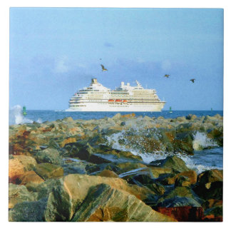 Seascape with Luxury Cruise Ship Tile