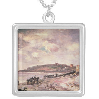 Seascape with ponies on the beach silver plated necklace