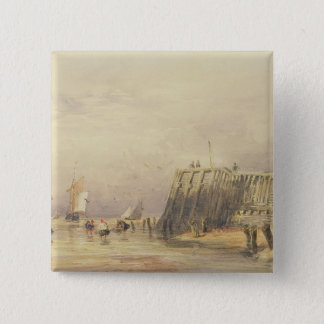 Seascape with Sailing Barges and Figures Wading Of 15 Cm Square Badge