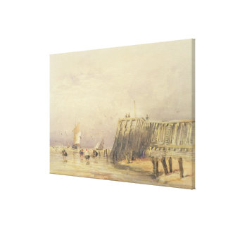Seascape with Sailing Barges and Figures Wading Of Canvas Print