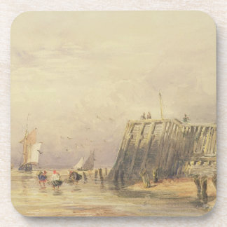 Seascape with Sailing Barges and Figures Wading Of Coaster