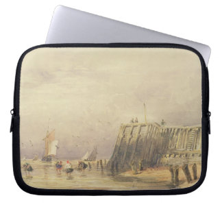Seascape with Sailing Barges and Figures Wading Of Laptop Sleeve