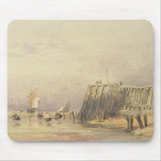Seascape with Sailing Barges and Figures Wading Of Mouse Mat