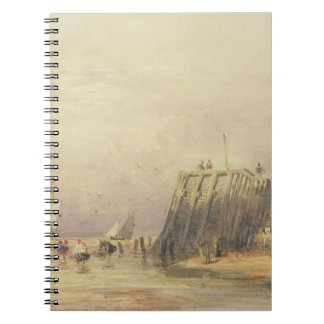 Seascape with Sailing Barges and Figures Wading Of Note Book