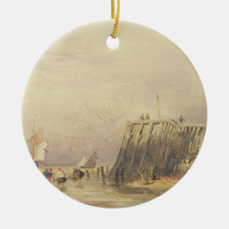 Seascape with Sailing Barges and Figures Wading Of Round Ceramic Decoration